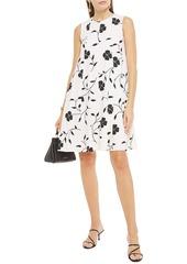 Oscar De La Renta Woman Pleated Floral-print Wool-blend Crepe Dress Ivory