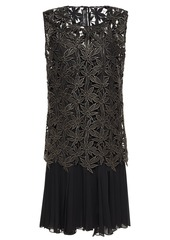 Oscar De La Renta Woman Pleated Georgette And Guipure Lace Dress Black