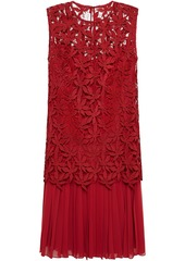 Oscar De La Renta Woman Pleated Georgette And Guipure Lace Dress Crimson