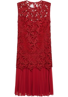 Oscar De La Renta Woman Pleated Georgette And Guipure Lace Dress Crimson