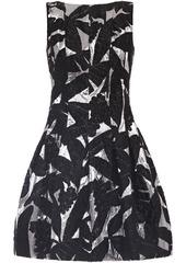 Oscar De La Renta Woman Pleated Metallic Brocade Mini Dress Black
