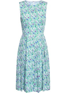 Oscar De La Renta Woman Pleated Printed Cotton Dress White
