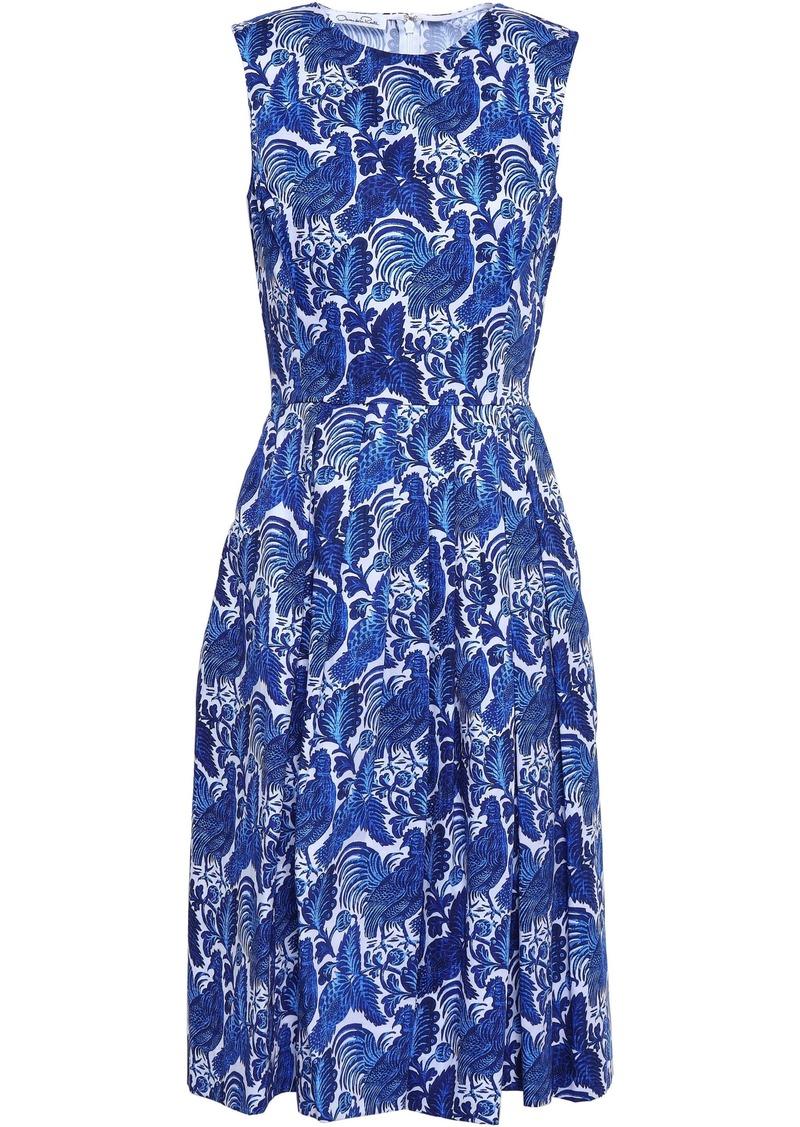 Oscar De La Renta Woman Pleated Printed Cotton Dress Blue