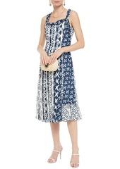 Oscar De La Renta Woman Pleated Printed Crepe De Chine Midi Dress Indigo