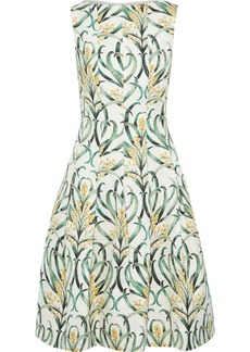 Oscar De La Renta Woman Pleated Printed Jacquard Dress Green