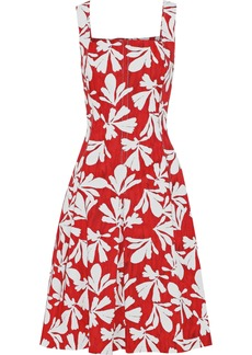 Oscar De La Renta Woman Pleated Printed Stretch-cotton Twill Dress Red