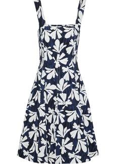 Oscar De La Renta Woman Pleated Printed Stretch-cotton Twill Dress Navy