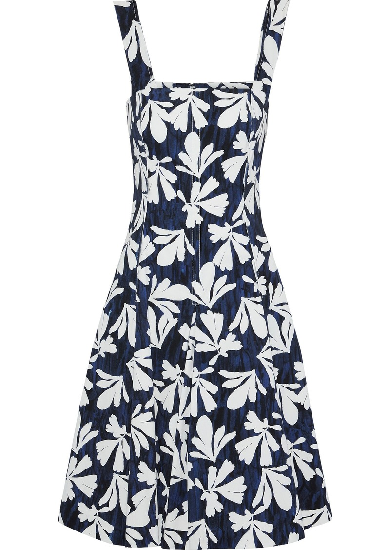 Oscar De La Renta Woman Pleated Printed Stretch-cotton Twill Dress Navy