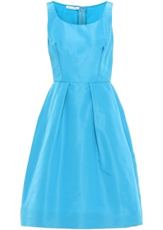 Oscar De La Renta Woman Pleated Silk-faille Dress Azure