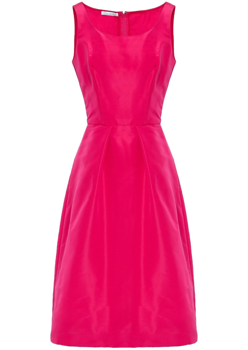 Oscar De La Renta Woman Pleated Silk-faille Dress Bright Pink