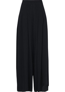 Oscar De La Renta Woman Pleated Stretch-crepe Wide-leg Pants Black
