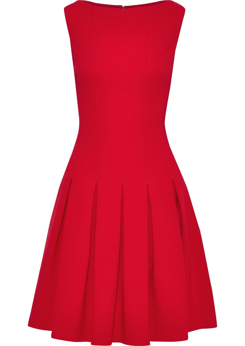 Oscar De La Renta Woman Pleated Wool-blend Crepe Dress Red