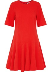 Oscar De La Renta Woman Pleated Wool-blend Crepe Dress Tomato Red