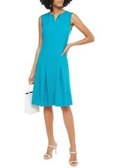 Oscar De La Renta Woman Pleated Wool-blend Crepe Dress Turquoise