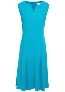 Oscar De La Renta Woman Pleated Wool-blend Crepe Dress Turquoise