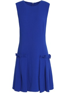 Oscar De La Renta Woman Pleated Wool-blend Crepe Mini Dress Bright Blue