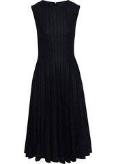 Oscar De La Renta Woman Pleated Wool-blend Midi Dress Charcoal