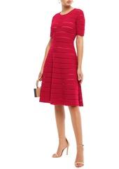 Oscar De La Renta Woman Pointelle-trimmed Metallic Bouclé-knit Dress Crimson