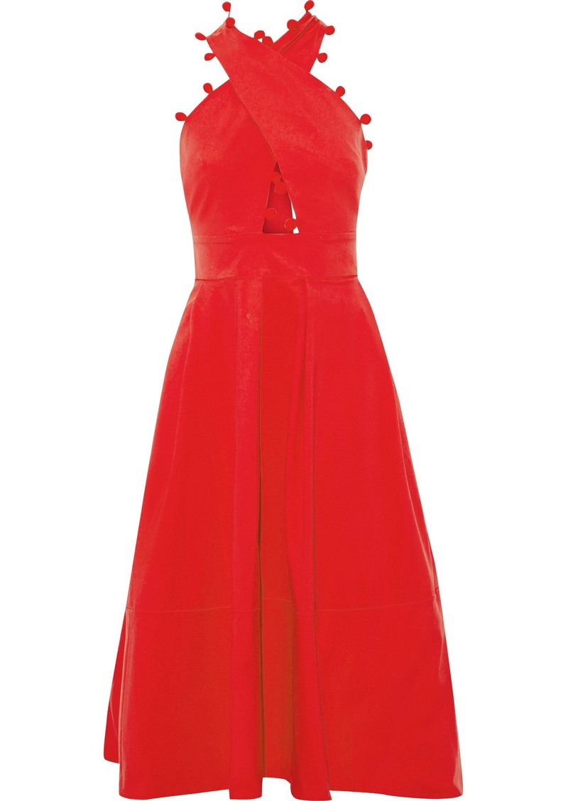 Oscar De La Renta Woman Pompom-trimmed Cotton-blend Midi Dress Tomato Red