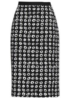 Oscar De La Renta Woman Printed Cotton-blend Bouclé-tweed Pencil Skirt Black