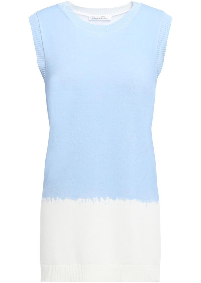 Oscar De La Renta Woman Printed Knitted Top Sky Blue