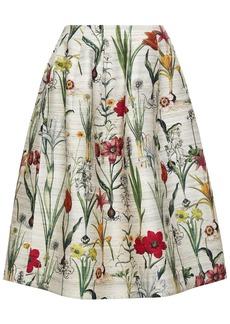Oscar De La Renta Woman Printed Silk-blend Midi Skirt Beige