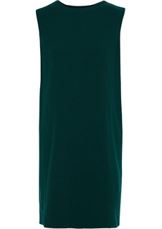 Oscar De La Renta Woman Printed Twill-trimmed Wool-blend Crepe Mini Dress Dark Green