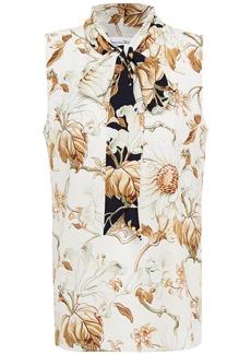 Oscar De La Renta Woman Pussy-bow Floral-print Crepe De Chine Top Ivory
