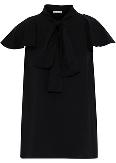 Oscar De La Renta Woman Pussy-bow Ruffled Stretch-silk Crepe Blouse Black