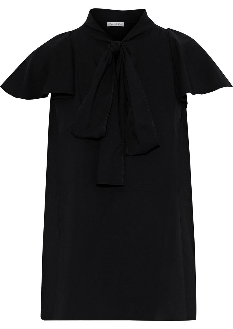 Oscar De La Renta Woman Pussy-bow Ruffled Stretch-silk Crepe Blouse Black