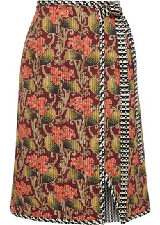 Oscar De La Renta Woman Quilted Printed Silk-twill Wrap Skirt Burgundy
