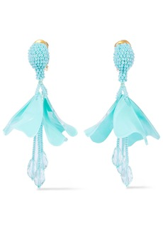 Oscar De La Renta Woman Resin Crystal And Bead Clip Earrings Turquoise