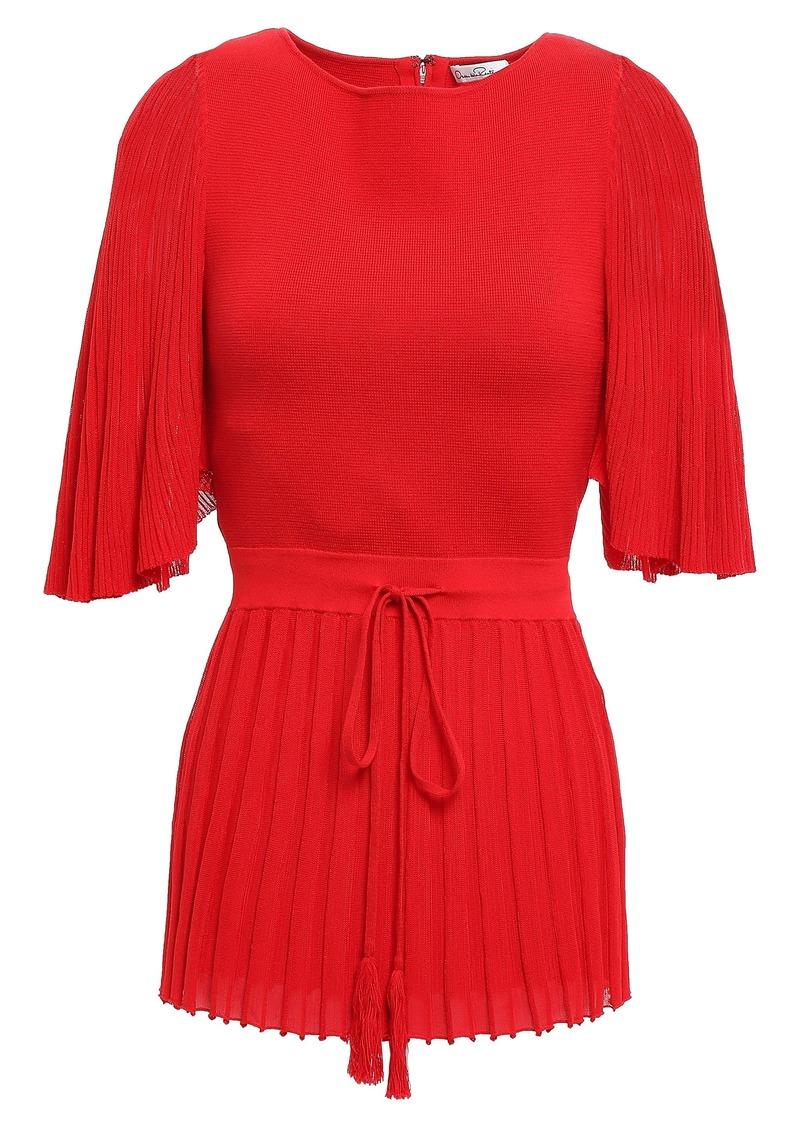 Oscar De La Renta Woman Plissé-paneled Silk And Cotton-blend Peplum Top Red