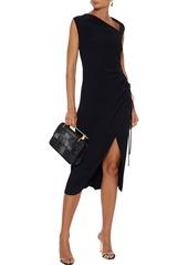 Oscar De La Renta Woman Ruched Crepe Midi Dress Black