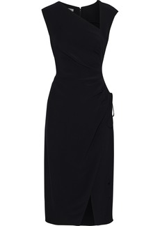 Oscar De La Renta Woman Ruched Crepe Midi Dress Black