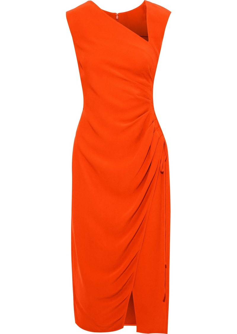 Oscar De La Renta Woman Ruched Crepe Midi Dress Bright Orange