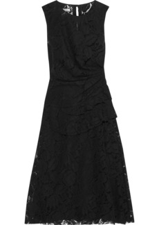 Oscar De La Renta Woman Ruffle-trimmed Cotton-blend Corded Lace Dress Black