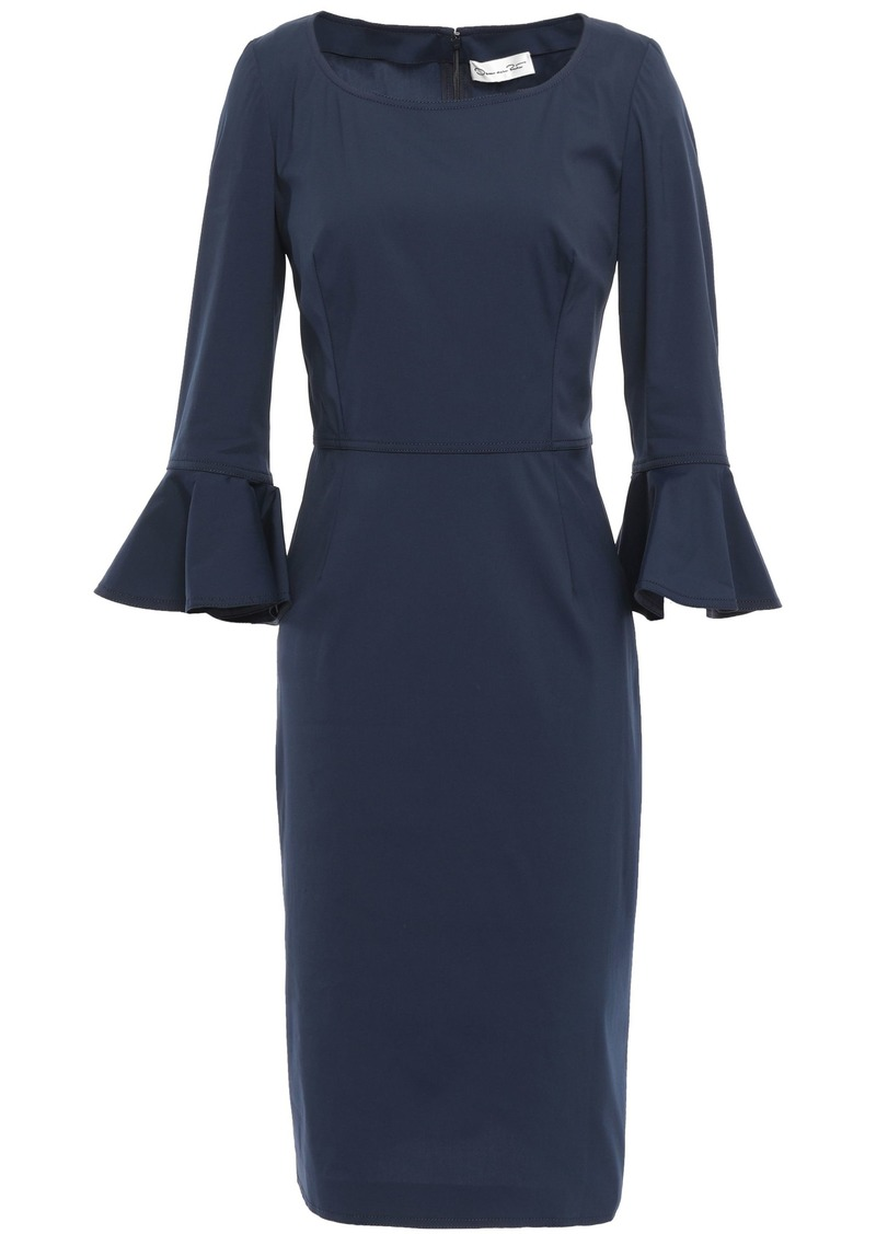 Oscar De La Renta Woman Ruffle-trimmed Stretch-cotton Poplin Dress Storm Blue