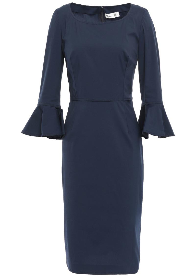 Oscar De La Renta Woman Ruffle-trimmed Stretch-cotton Poplin Dress Storm Blue