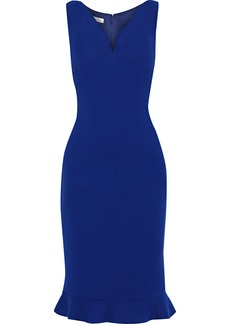 Oscar De La Renta Woman Ruffle-trimmed Wool-blend Stretch-crepe Dress Indigo