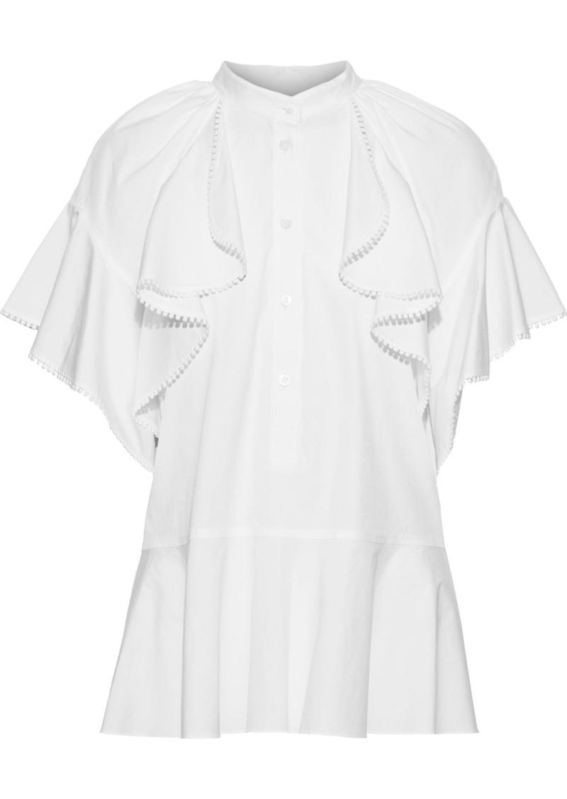 Oscar De La Renta Woman Ruffled Cotton-blend Poplin Peplum Blouse White
