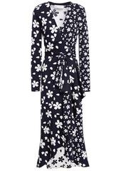 Oscar De La Renta Woman Ruffled Silk And Cotton-blend Floral-jacquard Wrap Dress Midnight Blue