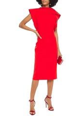Oscar De La Renta Woman Ruffled Wool-blend Cady Dress Tomato Red