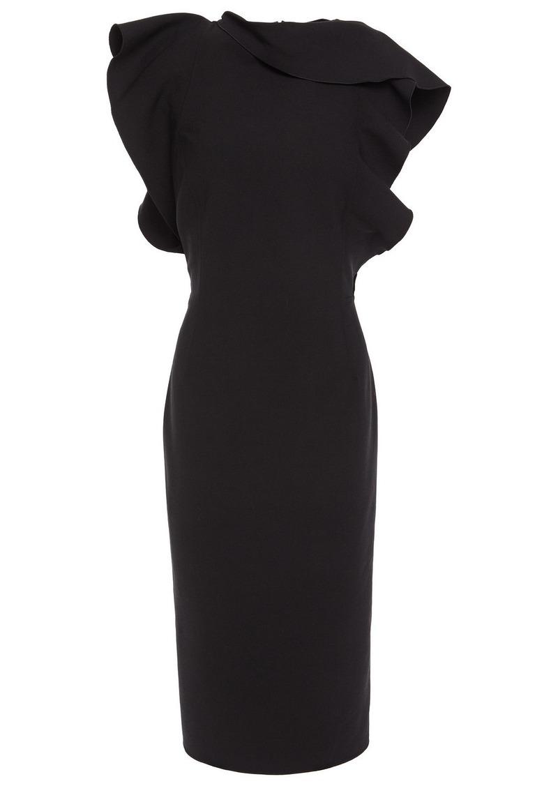 Oscar De La Renta Woman Ruffled Wool-blend Cady Dress Black
