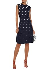 Oscar De La Renta Woman Scalloped Jacquard-knit Dress Midnight Blue