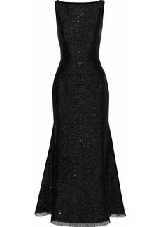 Oscar De La Renta Woman Sequin-embellished Metallic Crepe Gown Black
