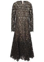 Oscar De La Renta Woman Sequin-embellished Metallic Guipure Lace And Mesh Midi Dress Black