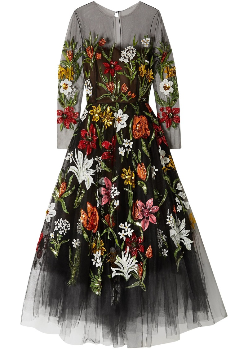 Oscar De La Renta Woman Sequin-embellished Printed Tulle Gown Black
