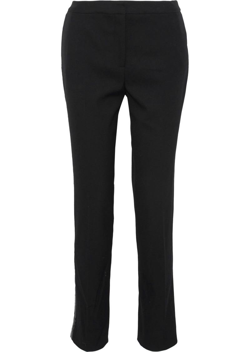Oscar De La Renta Woman Sequin-embellished Stretch-wool Twill Slim-leg Pants Black