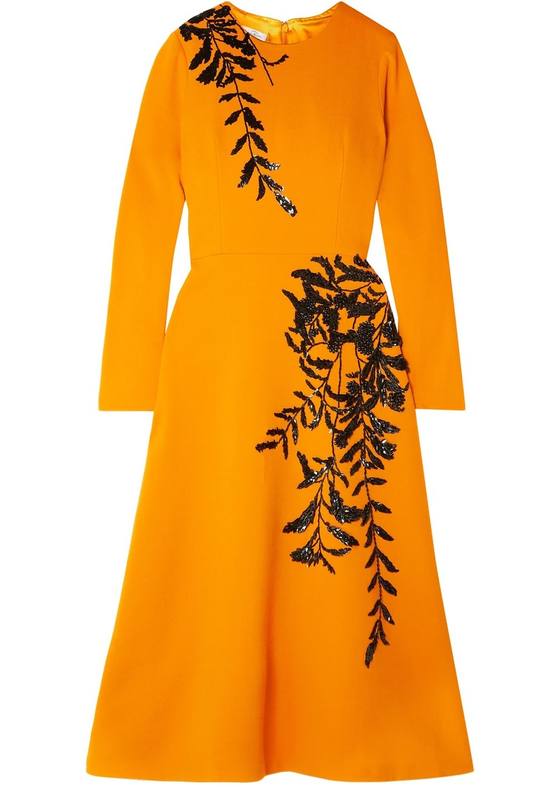 Oscar De La Renta Woman Sequin-embellished Wool-blend Crepe Midi Dress Saffron